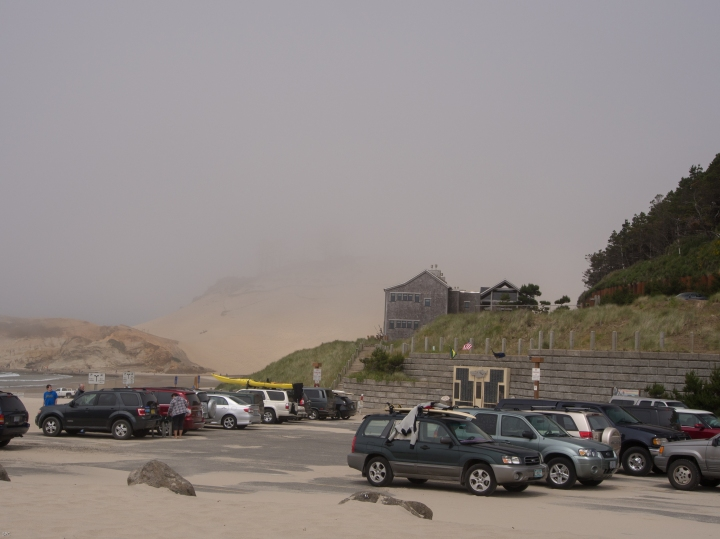 The sea mist rolls in and obscures the tallest sand dune I have ever climbed